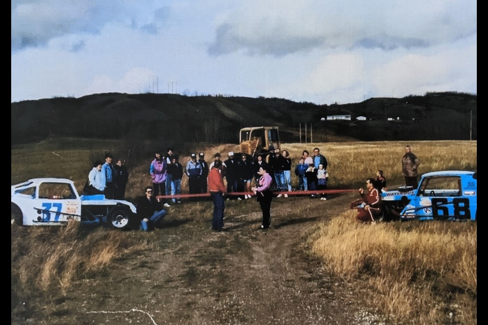 The Fort St. John Stock Car Club held the ribbon cutting for Taylor Speedway in the spring of 1991, and began construction later that day. Those on hand included contractor Doug Babcock, who spearheaded the project, then-Taylor mayor Fred Jarvis, and others.