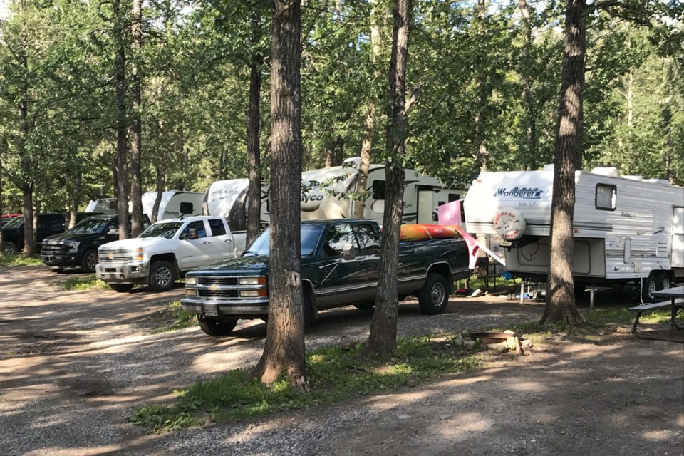 The private campground at Jasper Park Gates was more than 50 per cent full in early July. Photo supplied