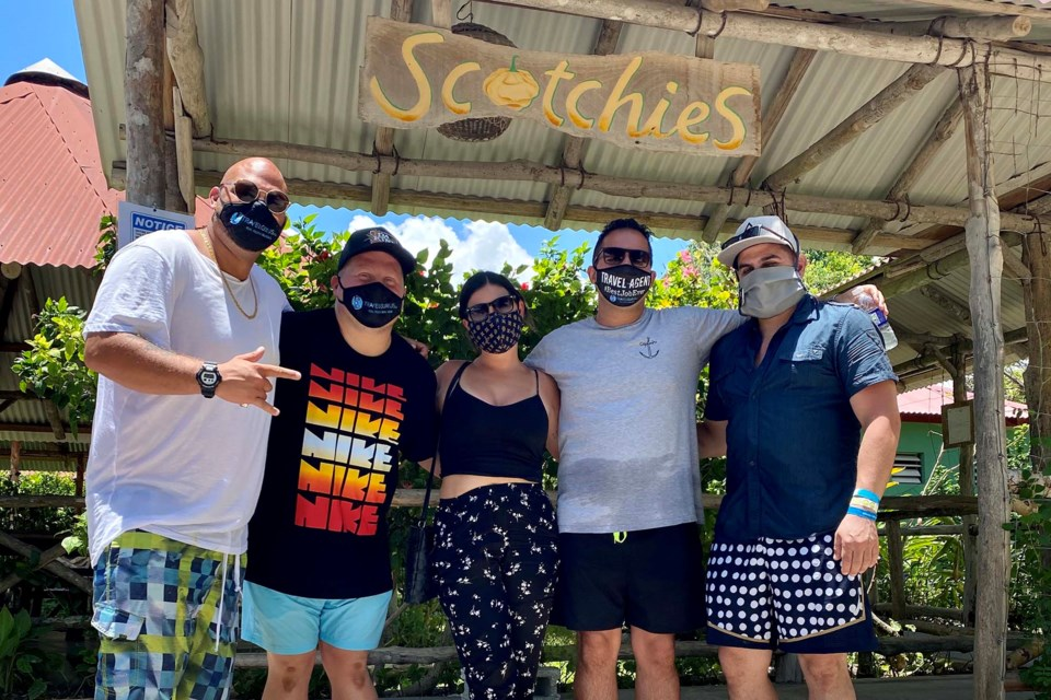 Travel Gurus' Hidar el-Mais (second from right) and other vacationers spent four days at an all-inclusive resort in Montego Bay, Jamaica, earlier this month,  Photo submitted