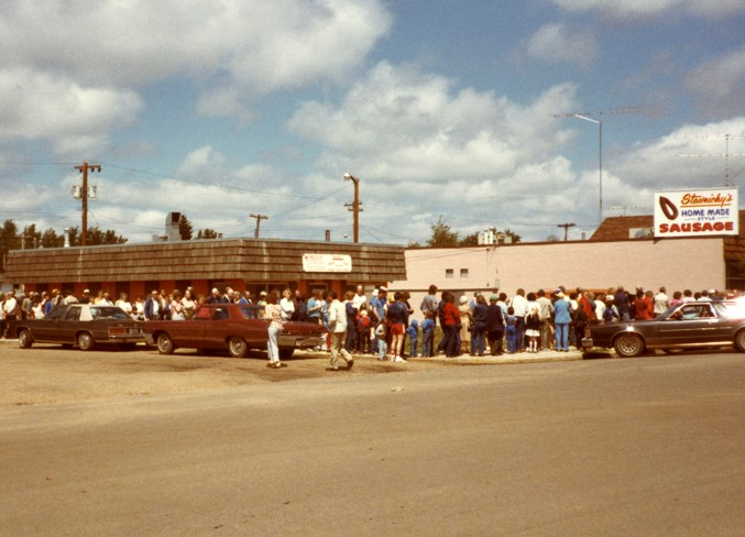 Customers lined up when the Edmonton location opened in 1971.