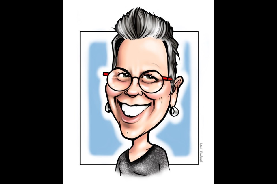 Edmonton artist Laurel Hawkswell occasionally does a caricature of herself. Photo submitted.