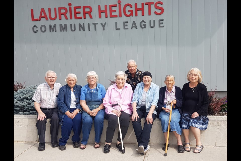 Some of the Laurier Heights Monday art class participants, from left: Lloyd Jones, Marilyn Flynn, Anna Poffenroth, Helen Richards, Laurence London, Louise Cheng, Barbara Henderson, Jean Matsuda. Photo submitted.