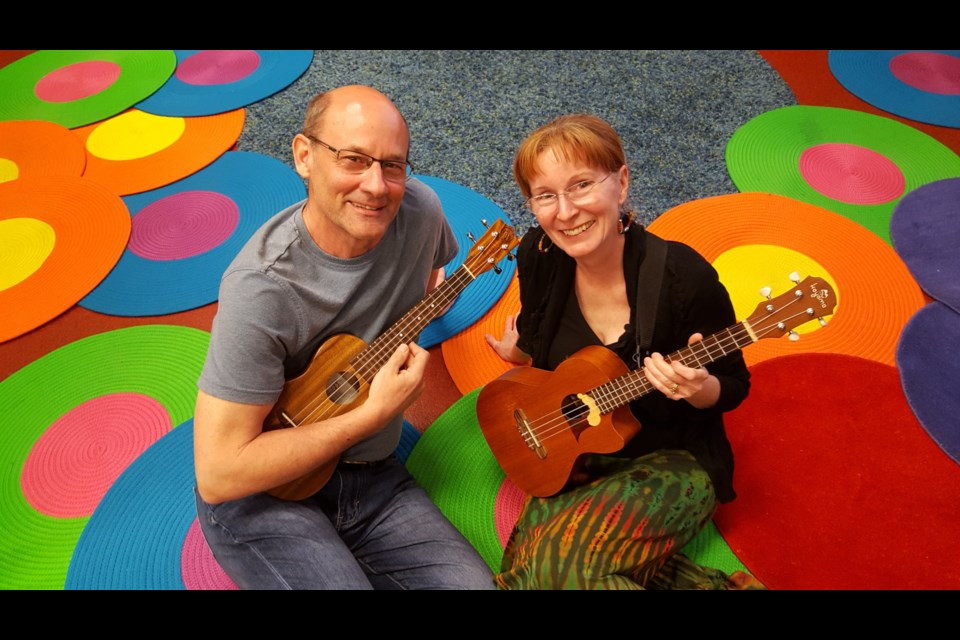 Husband and wife Paul Punyi and Maureen Rooney have been leading the St. Albert Library 'Uke It Up' ukulele circle for about 6 years. They also take the happy sounds of the ukulele to seniors centres in and around St. Albert.