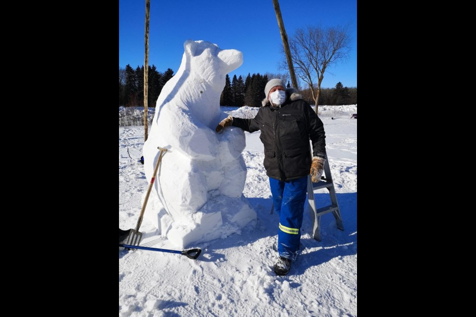 Sculptor Ritchie Velthuis is an award-winning snow artist too, taking part in the Silver Skate Festival each year. Photo: Ritchie Velthuis