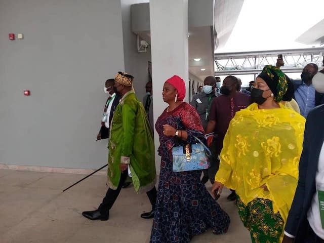 Transport-minister-Amaechi-second-left-and-minister-of-state-Gbemisola-Saraki-right-in-Ebute-Meta-Lagos-