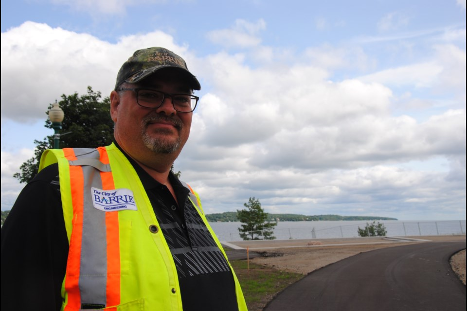 Barrie landscape architect Bill McGregor is on site as the finishing touches to the military heritage park are applied. Laurie Watt for BarrieToday