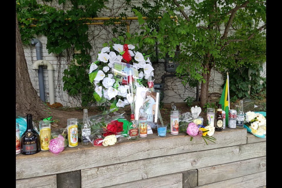 A memorial for Olando Brown has been set up on Bayfield Street just south of Dunlop Street. Shawn Gibson for BarrieToday