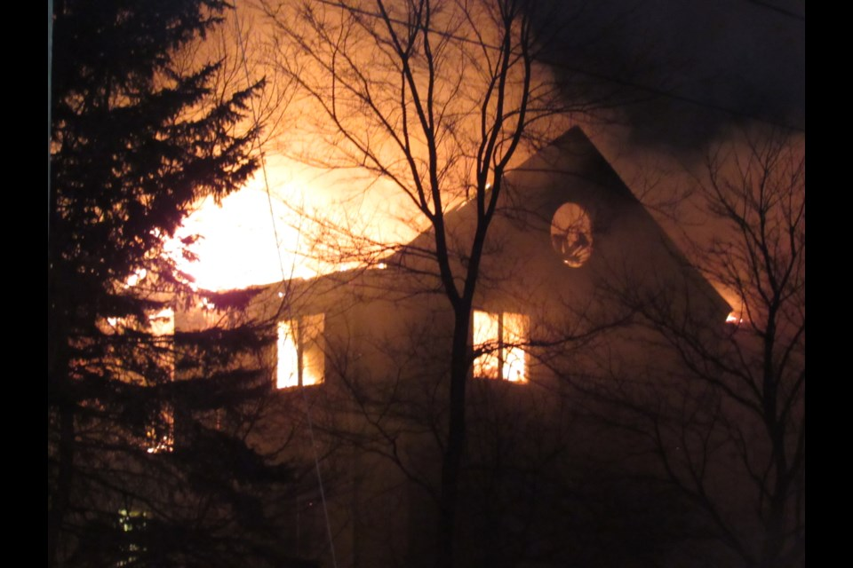 100 Little Avenue ablaze Monday evening. Shawn Gibson for BarrieToday