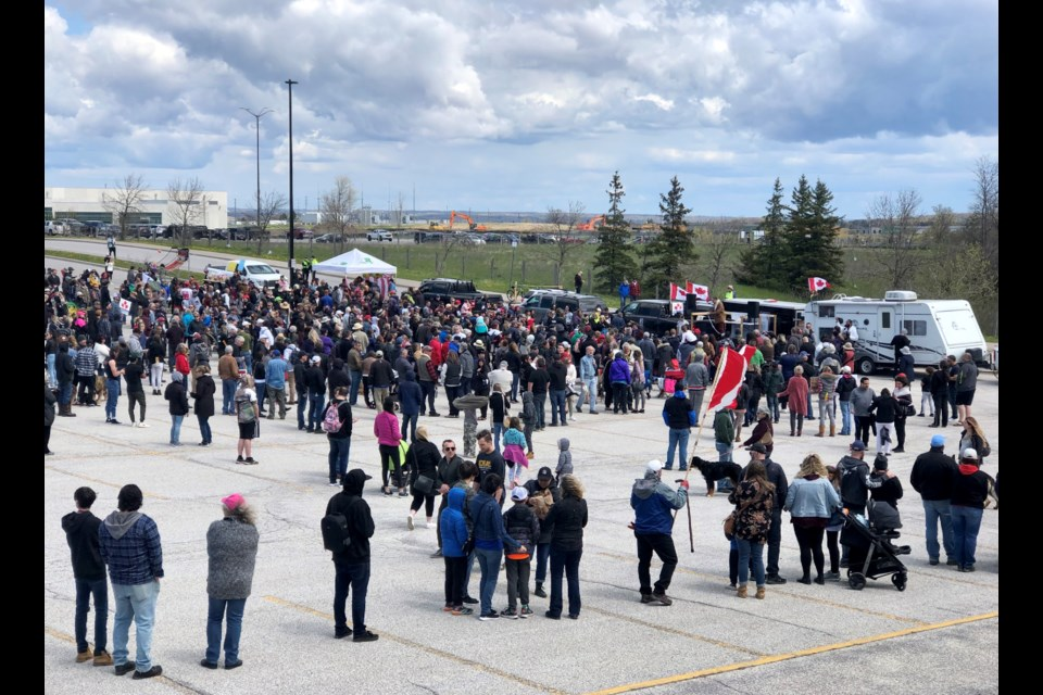 Police estimate 350 people gathered at Saturday's anti-lockdown demonstration at the Sadlon Arena parking lot in south-end Barrie.