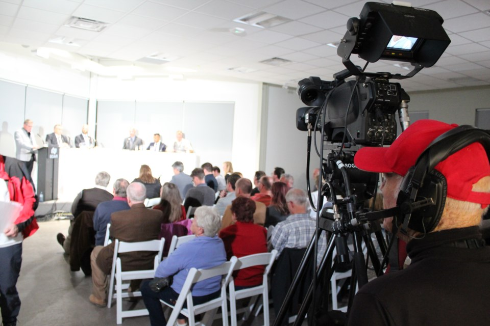 The Barrie Chamber of Commerce's Barrie-Springwater-Oro-Medonte debate on Thursday, Oct. 10, 2019, at the Barrie & District Association of Realtors building was recorded and broadcast on Rogers TV. Raymond Bowe/BarrieToday