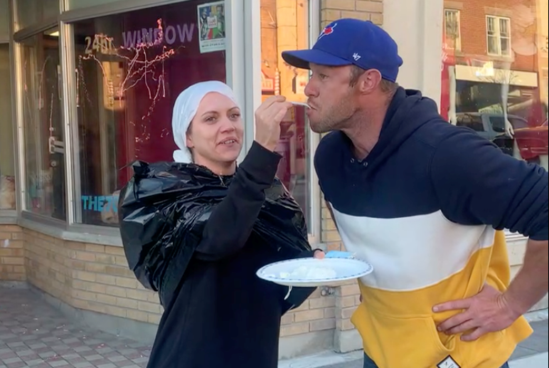 The four participants in this weekend's The 24hr Window a Raise-a-thon for Recovery took pies to the face, danced the hokey pokey among other silly things to help raise money for The 705 Recovery Community Centre, which helps people living with addiction.