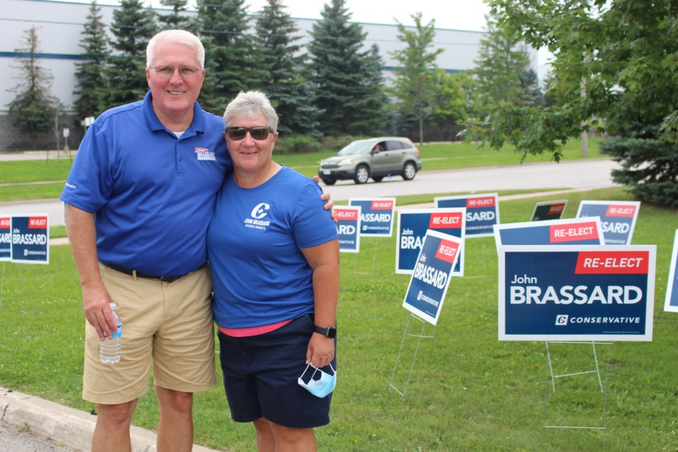 Barrie-Innisfil Conservative Candidate John Brassard met with supporters August 21, 2021 as they popped by to grab a lawn sign.