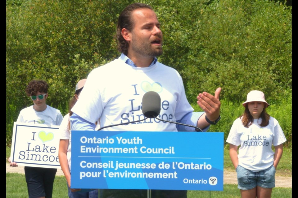 Ontario Environment Minister David Piccini makes an announcement on Wednesday in Barrie.