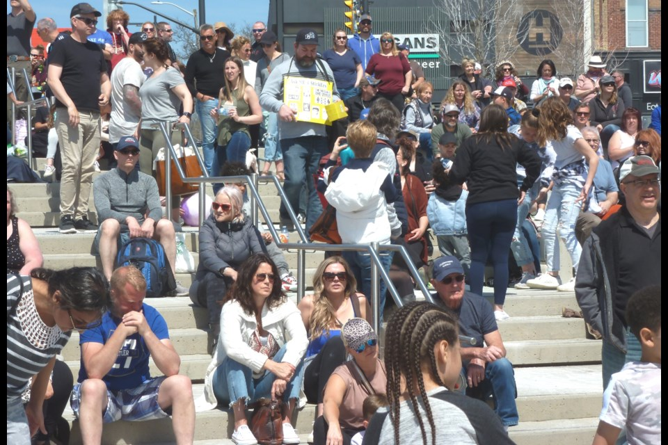 Saturday's 'freedom rally' in downtown Barrie attracted another large crowd to Meridian Place