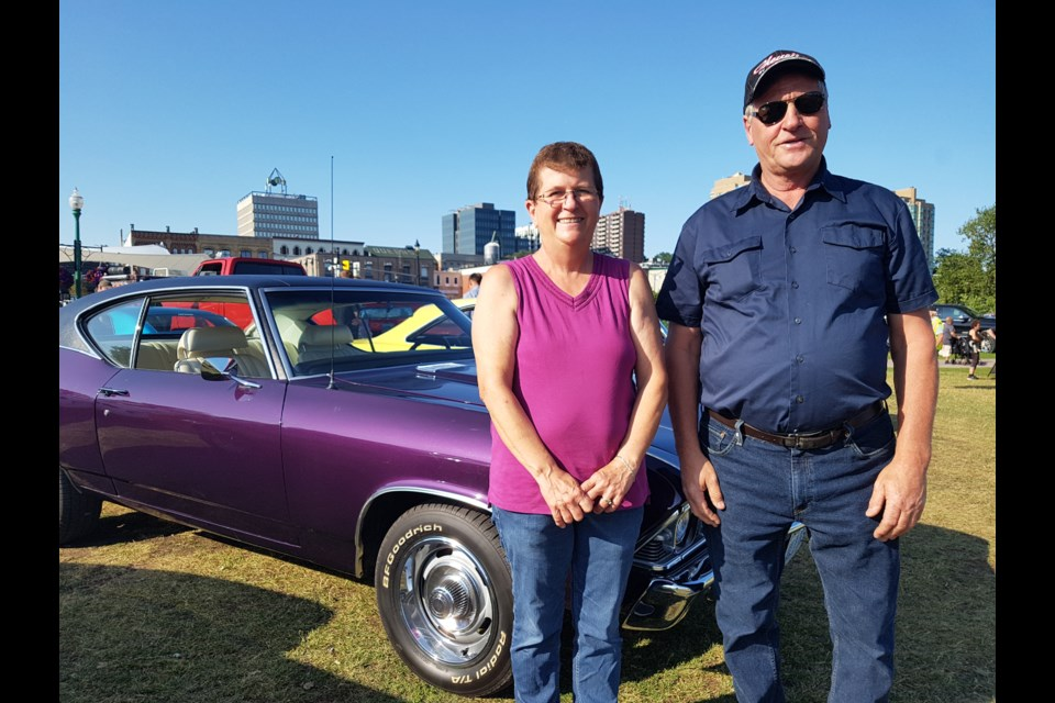 Brian Wight and wife, Cathy, show off their 1969 Chevelle Malibu at every Barrie Thunder Classics Cruise Night. Shawn Gibson/BarrieToday
