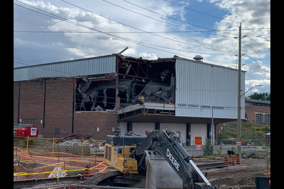 Exterior demolition began Wednesday morning at the W.A. Fisher Auditorium in downtown Barrie, the final building linked to the former Barrie Central Collegiate.