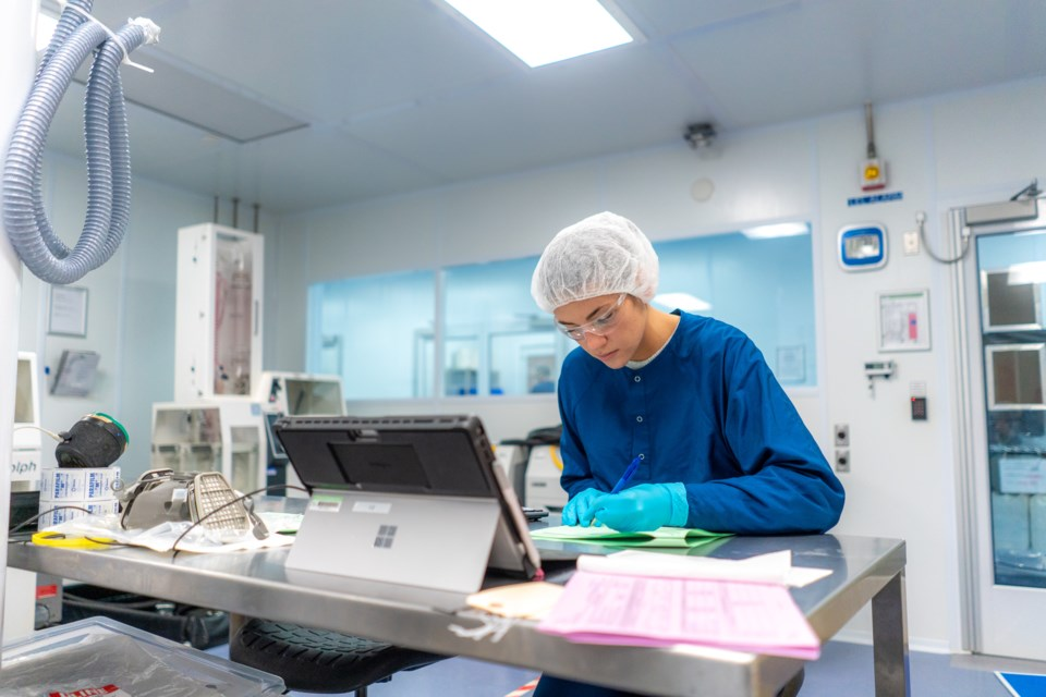 A worker is shown in a MediPharm Labs facility. Photo supplied