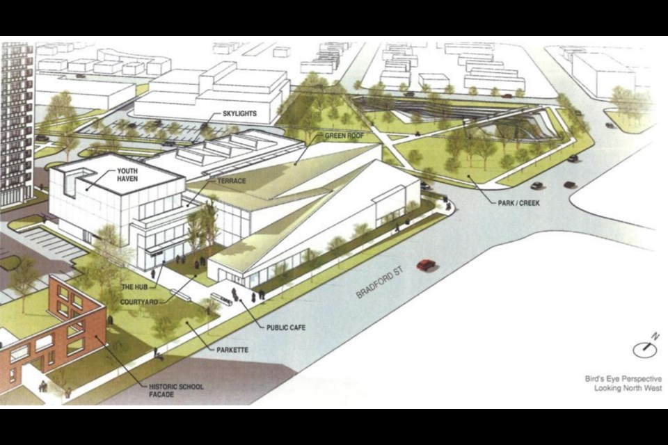 An artist's rendering of the proposed YMCA of Simcoe/Muskoka regional hub project and Dunlop Street West and Bradford Street in Barrie. Contributed image