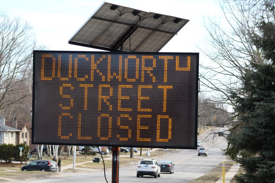 Duckworth Street, located in Barrie's east end, is closed from Penetang Street to Strabane Avenue for ongoing construction work. Raymond Bowe/BarrieToday