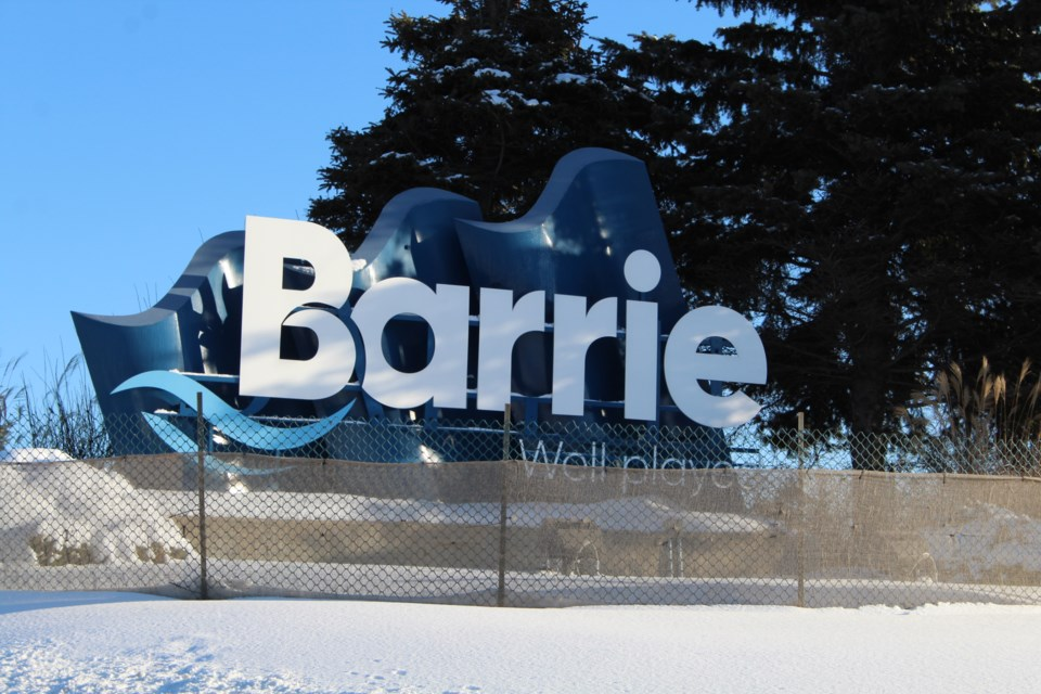 A City of Barrie so-called 'gateway' sign, featuring the Well Played slogan, near the southern border along Highway 400 heading northbound. Raymond Bowe/BarrieToday