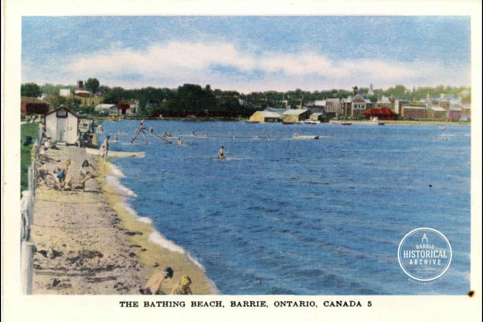 A postcard image of a 1950s era bathing beach in Barrie.