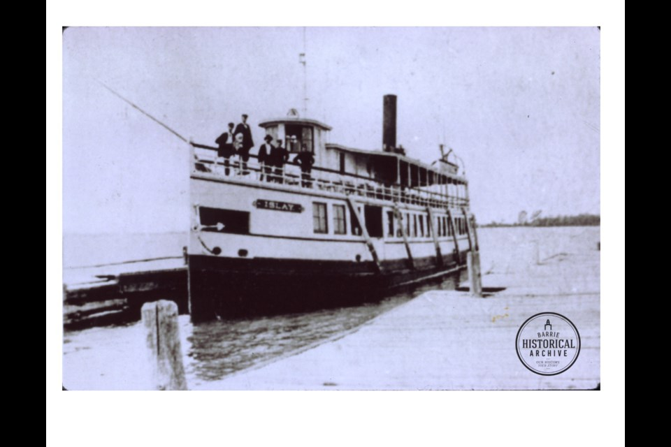The steamer 'Islay' at Barrie Government Dock circa 1890. Barrie Historical Archive