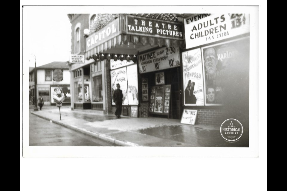Talking pictures at the Capitol Theatre late 1930s. Barrie Historical Archive