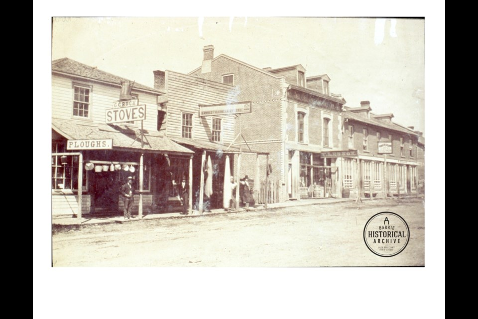 The west side of Bayfield Street, just north of Five Points, before 1876. G.G. Smith ran an undertaking business farthr up the block. Photo courtesy of the Barrie Historical Archive