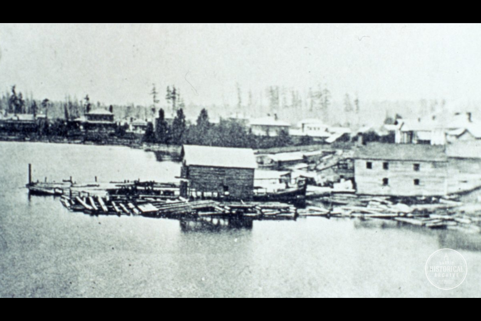 One of the first known photographs of Barrie. Looking west at the waterfront from somewhere between Meridian Place and Mulcaster Street, circa 1860. Photo courtesy of the Barrie Historical Archive
