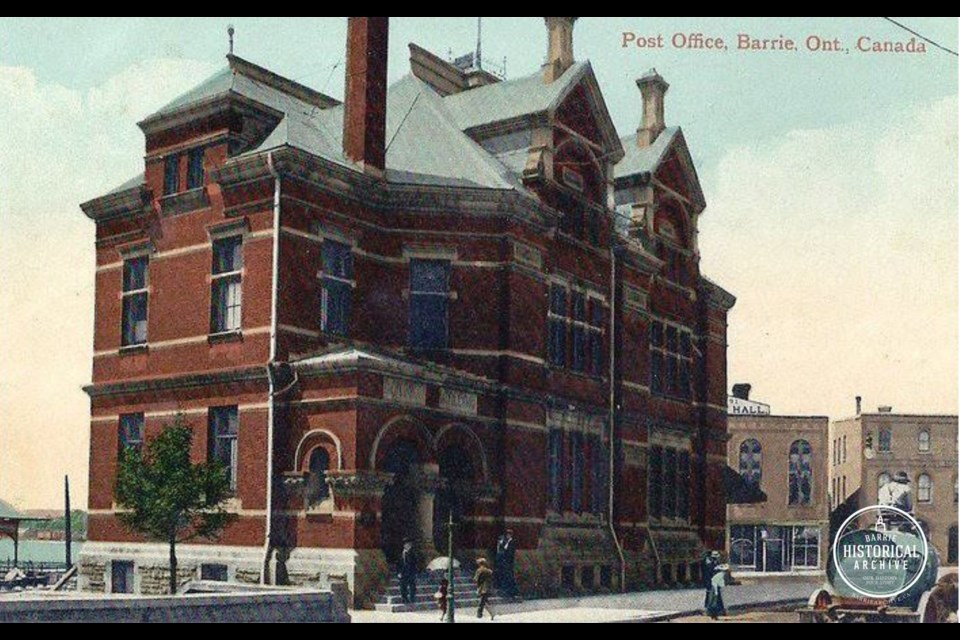 A circa 1900 postcard of the Post Office that once stood at what is now Meridian Place in downtown Barrie. The Music Hall can just be seen behind it.