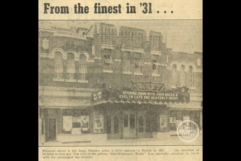 A newspaper clipping for the grand opening of the Roxy in 1931.