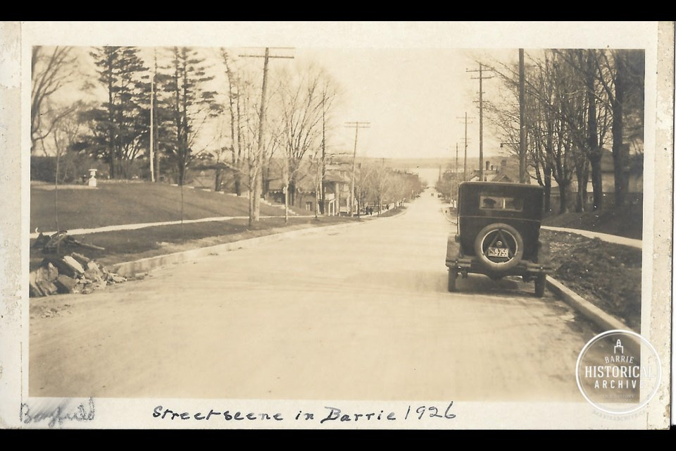 A very quiet Bayfield Street, at Wellington Street, looking south in 1926. Photo courtesy of the Barrie Historical Archive