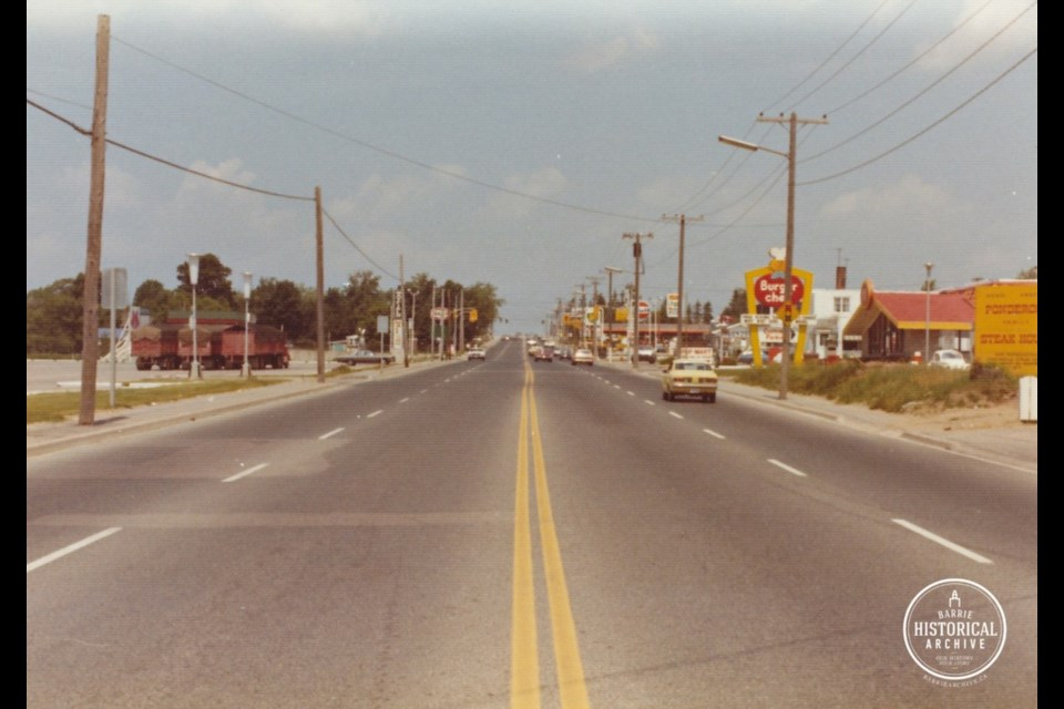 Looking north on Bayfield Street from around the 400 overpass about 1973. Photo courtesy of the Barrie Historical Archive