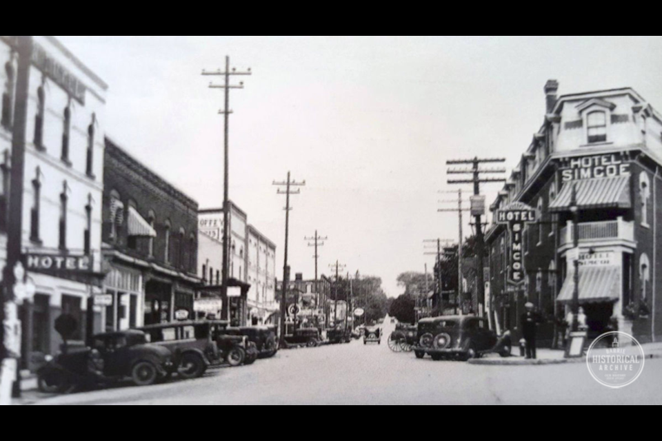 Looking up Bayfield Street from Five Points. Jack Dyck's truck was stolen just outside one of the buildings on the left. 1940 Photo courtesy of the Barrie Historical Archive