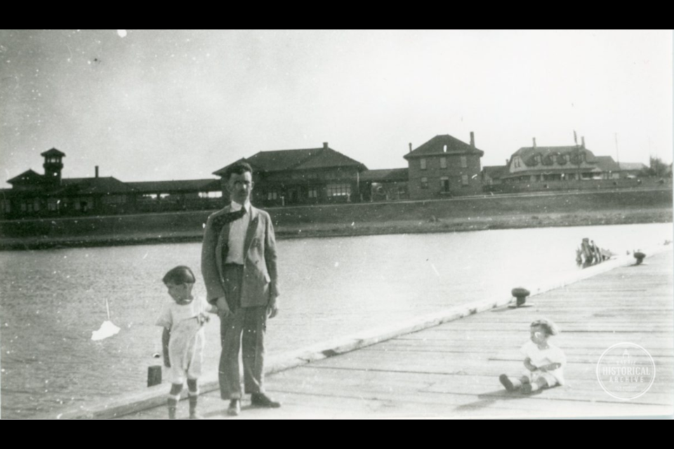 Members of the Gailbraith family pose on the Tiffin Dock, with the Allandale Train Station in the background, in 1926. Photo courtesy of the Barrie Historical Archive