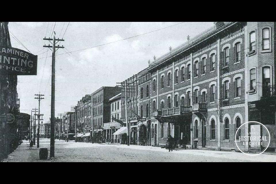 Downtown Barrie in the late 1880s. Looking west from Mulcaster Street. Photo courtesy of the Barrie Historical Archive