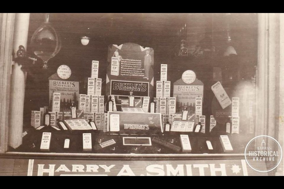 A look inside the display window of an old Barrie drug store. Photo courtesy of the Barrie Historical Archive