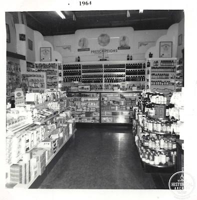 The interior of a Barrie drug store featuring the chemist's medicine display. 1964. Photo courtesy of the Barrie Historical Archive