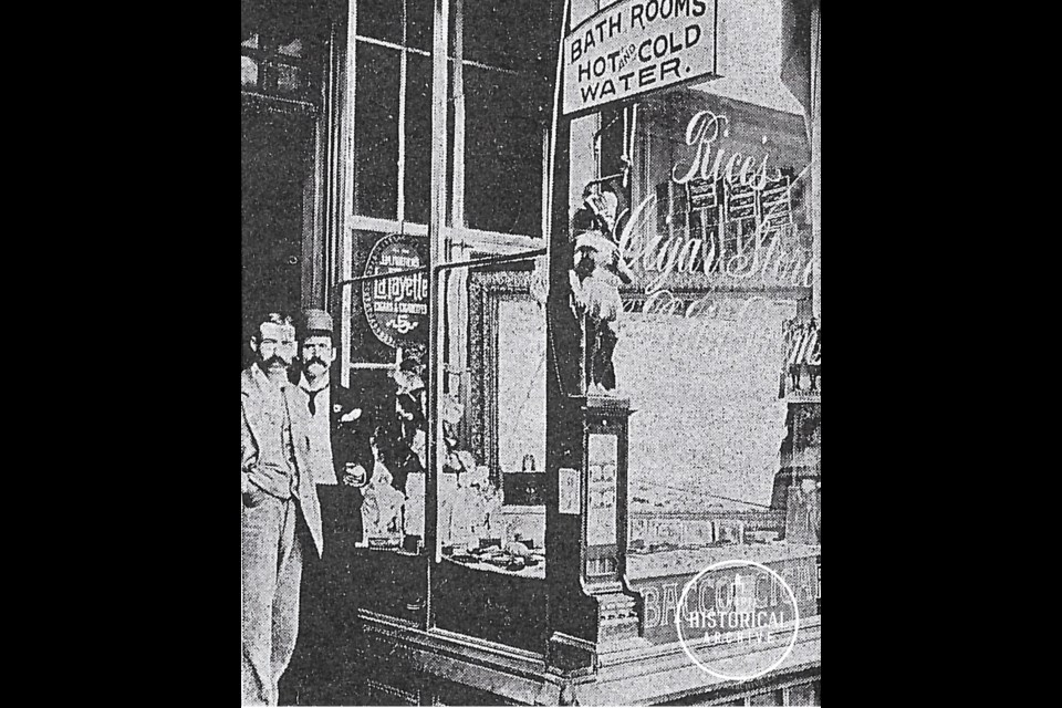 Rice's Cigar Store and Bath Rooms (c1905). Photo courtesy of the Barrie Historical Archive