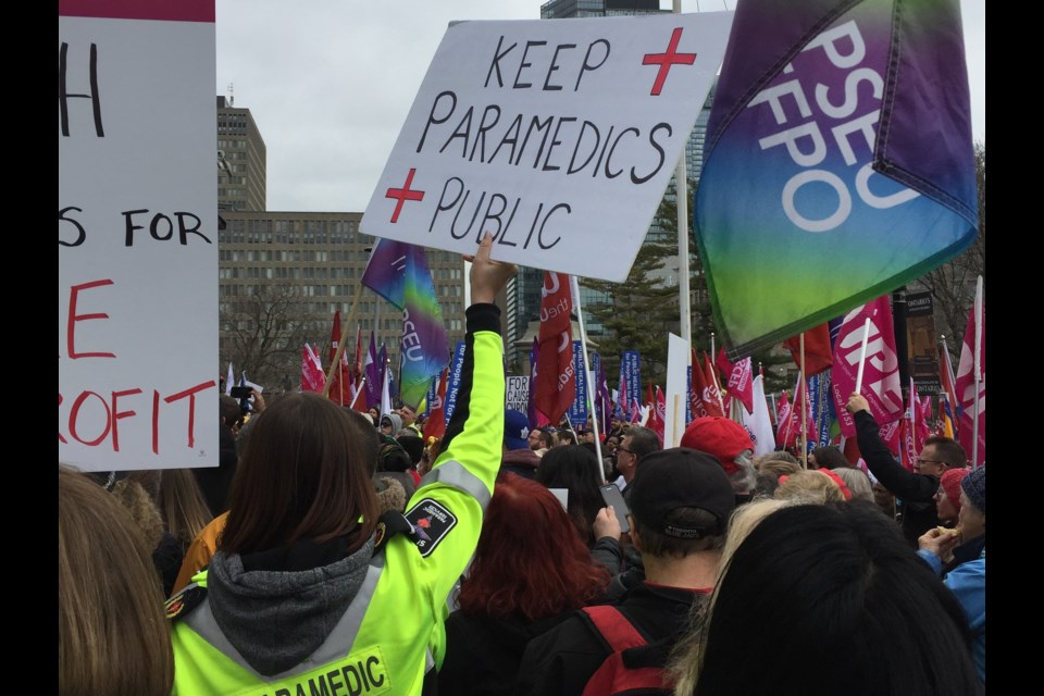 Simcoe County Paramedics traveled to Queen's Park this week to protest potential changes coming to EMS services Ontario-wide. Contributed image