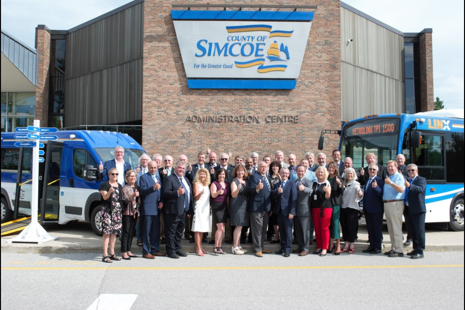 County councillors celebrate the newest LINX transit routes at the County of Simcoe administration building on Aug. 13, 2019. Jessica Owen/BarrieToday