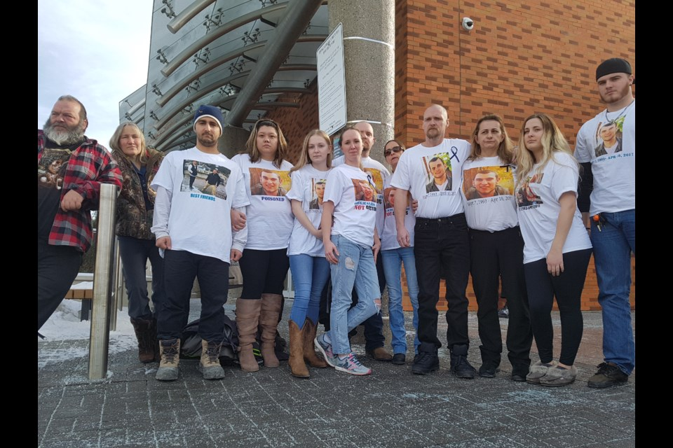 Family and friends of Shawn Kelly Jr., stand outside the Barrie courthouse. Shawn Gibson/BarrieToday