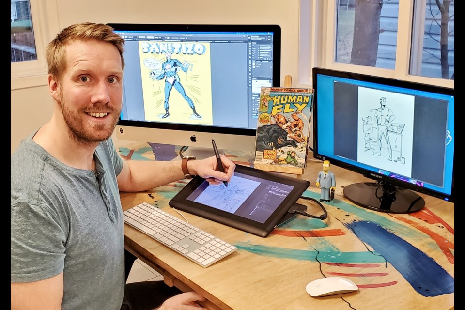 Artist and comedian Daniel Shaw has found an outlet for both of his passions through comic book covers while in self isolation. Photo supplied