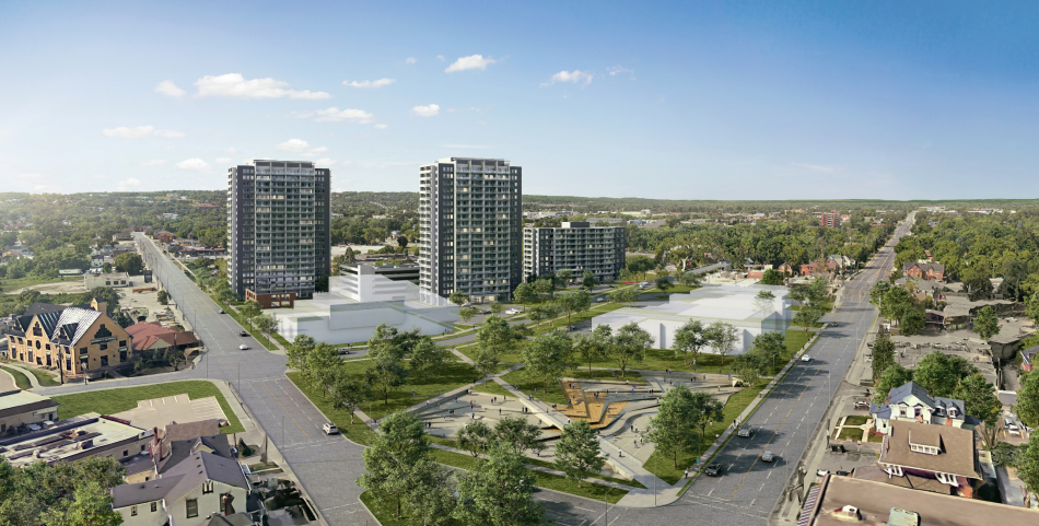 This artist's rendering shows what a proposed development at the former Barrie Central Collegiate could look like from the corner of Bradford Street and Dunlop Street West. Image supplied