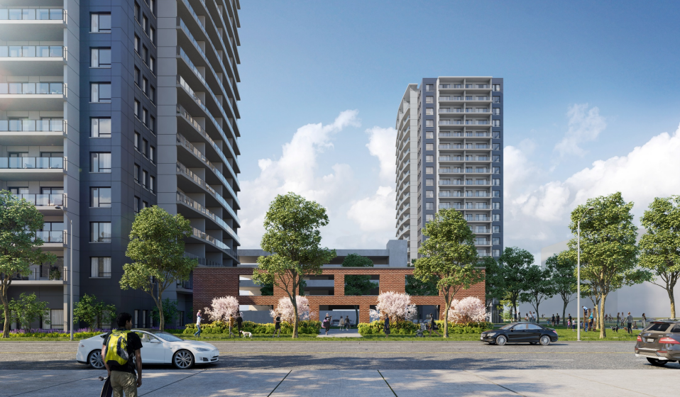 This artist's rendering shows what a proposed development at the former Barrie Central Collegiate site could look like from Bradford Street. Image supplied