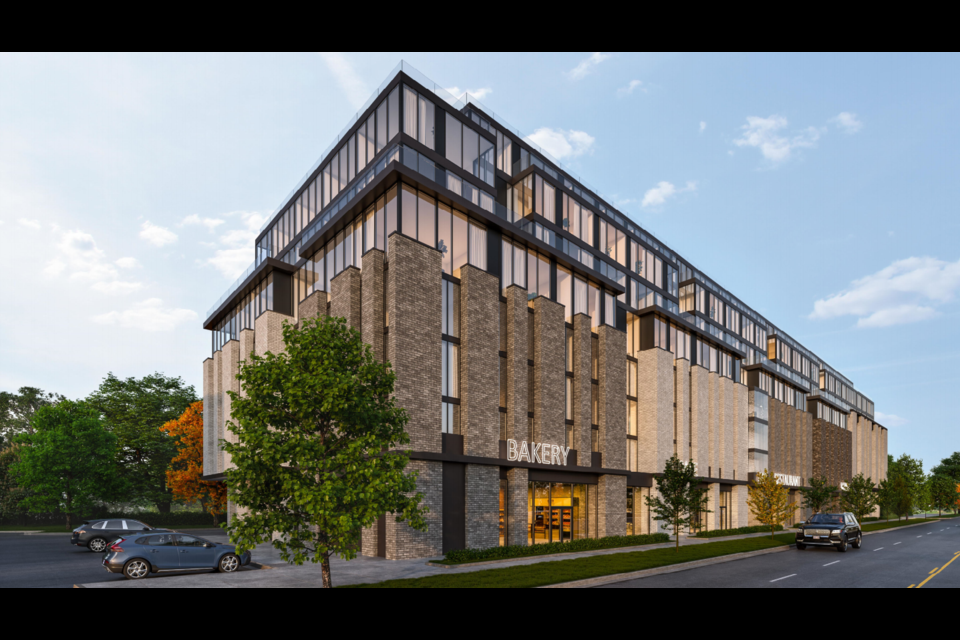 This rendering, from a northwest perspective, shows the front and side elevations for a proposed development at 440 Essa Rd., in south-end Barrie. Image supplied
