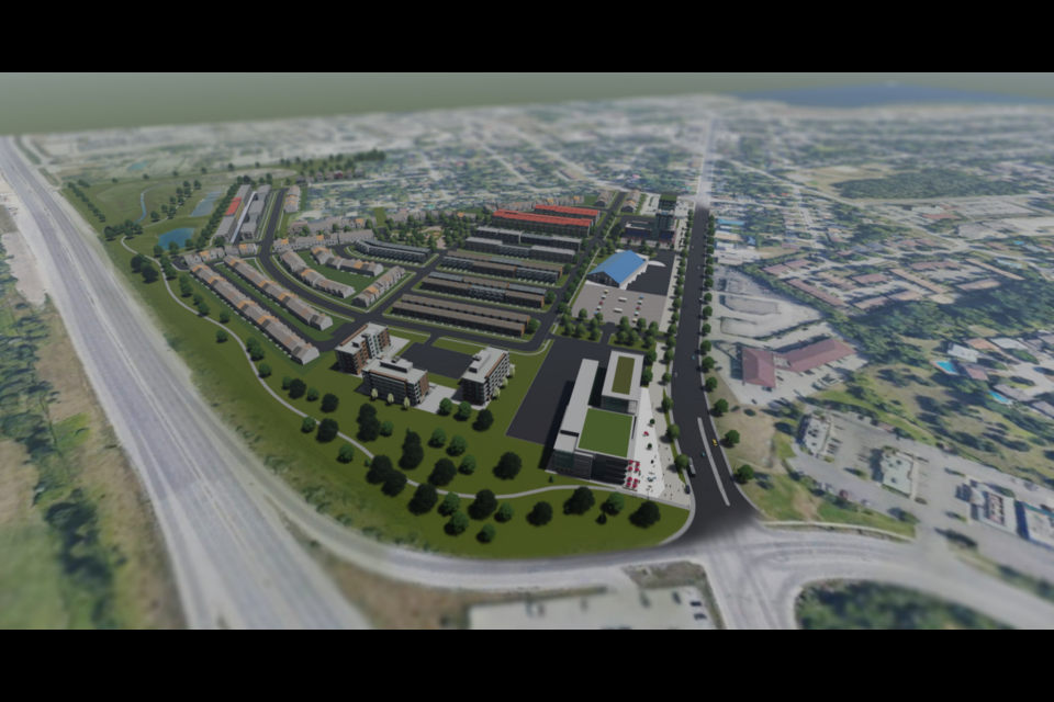 A rendering of what the former Barrie fairgrounds could look like if the project is approved by city council. For perspective, Highway 400 is at the bottom of the image. Image supplied
