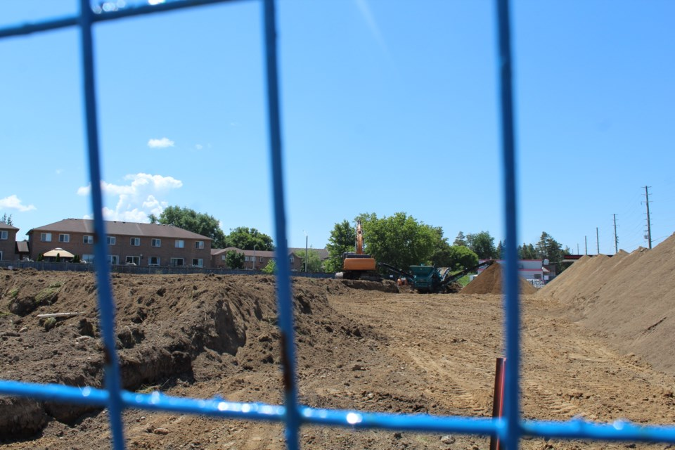 Site works were in full swing Monday, June 29 at the corner of Essa Road and Veterans Drive in south-end Barrie. Raymond Bowe/BarrieToday