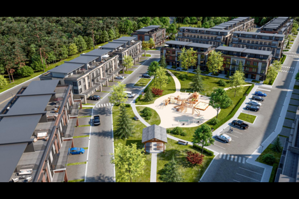 Bear Creek Village is a proposed residential development featuring 218 back-to-back condominium townhouse units, three and four storeys high, and a 90-unit, six storey apartment building, for a total of 308 residential units at 189 Summerset Dr.