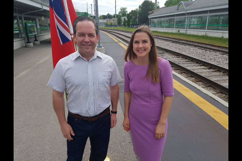 Doug Downey and Andrea Khanjin were at the Allandale GO Station today to announce more service times for riders. Shawn Gibson/BarrieToday